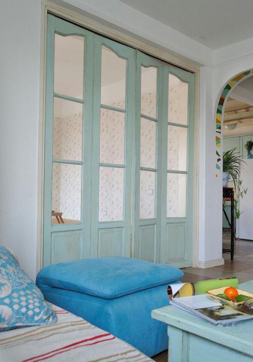 蓝色梦幻地中海风格室内客厅隔断装潢