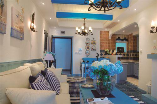 2016精致浪漫蓝色地中海风格客厅装潢设计
