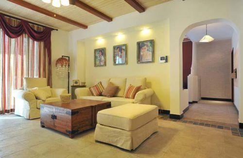 浪漫地中海黄色客厅图片
