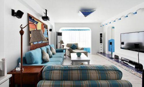 地中海风格清新蓝色客厅效果图设计