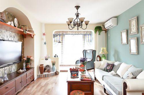 白色清新地中海风格客厅图片赏析