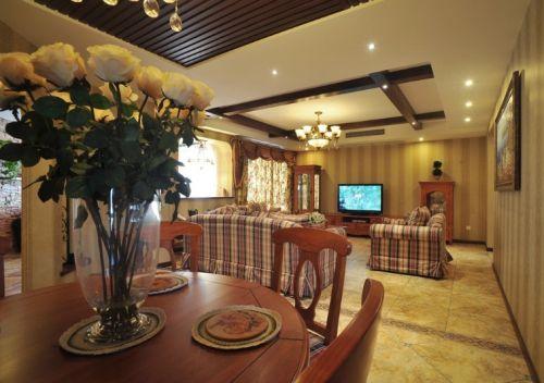 美式风格温馨黄色客厅装修效果图片