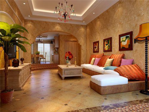 热情橙色地中海风格客厅装修案例