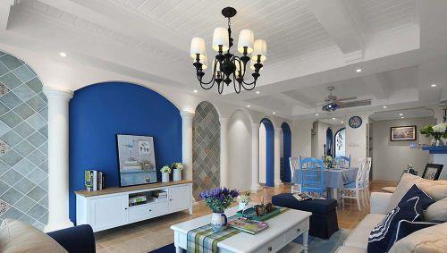浪漫地中海风格蓝色客厅装修效果图欣赏