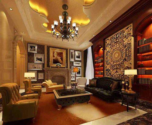 美式气派客厅温暖装潢