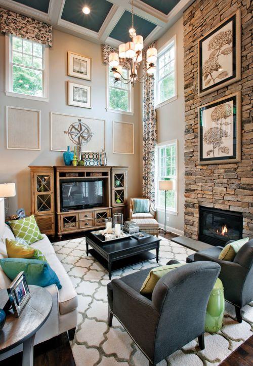 美式风格大气黄色客厅设计装潢