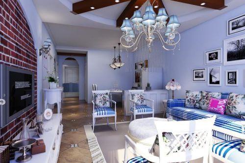 唯美蓝色地中海客厅设计欣赏