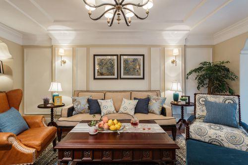 米色雅致美式风格客厅美图欣赏