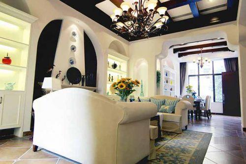 白净地中海风格客厅装潢设计