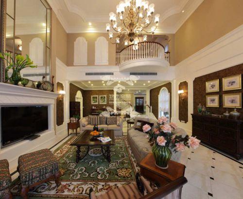 奢华美式别墅客厅效果图