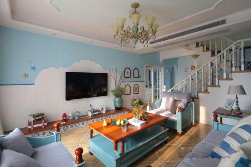 地中海风格清新蓝色客厅装潢案例