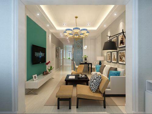 蓝色浪漫唯美美式风格客厅装修图