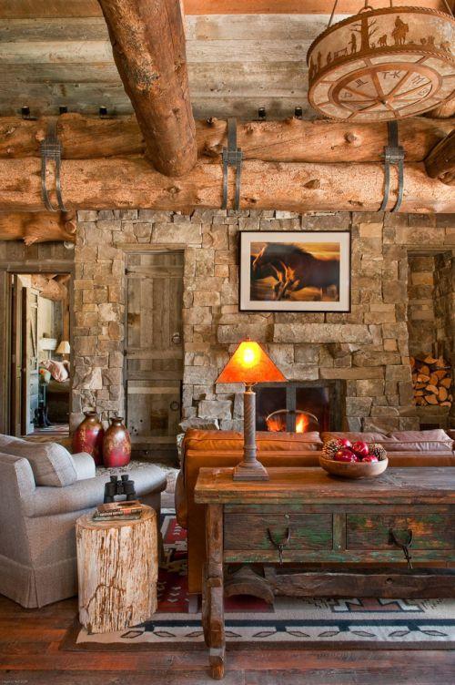 美式风格质感原木色客厅装修设计