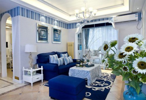 蓝色地中海客厅设计
