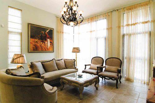 复古美式风格客厅整体设计图片
