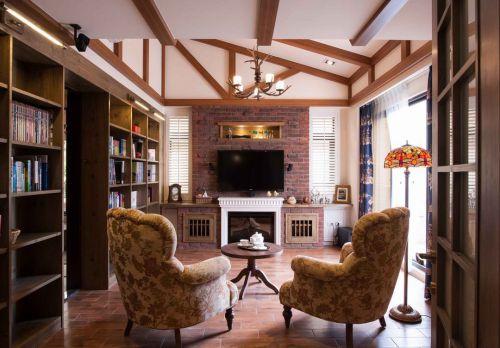 美式风格个性红色客厅美图欣赏