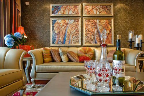 美式风格黄色质感客厅装修案例