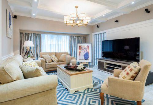 美式风格米色客厅装修布置