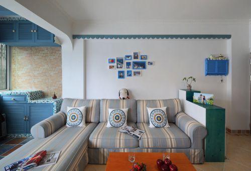 蓝色梦幻地中海风格客厅装潢设计大全