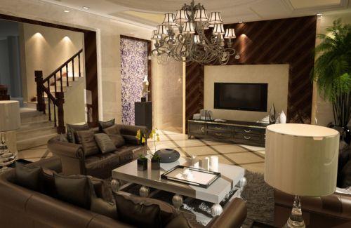 美式风格质感米色客厅设计欣赏