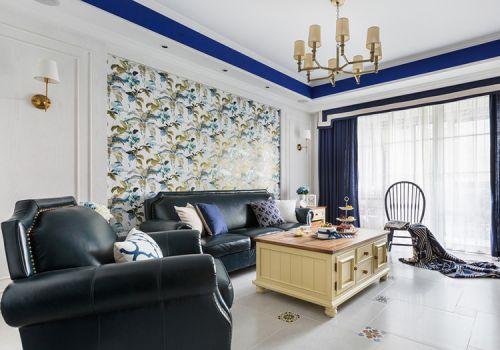 蓝白美式客厅设计美图