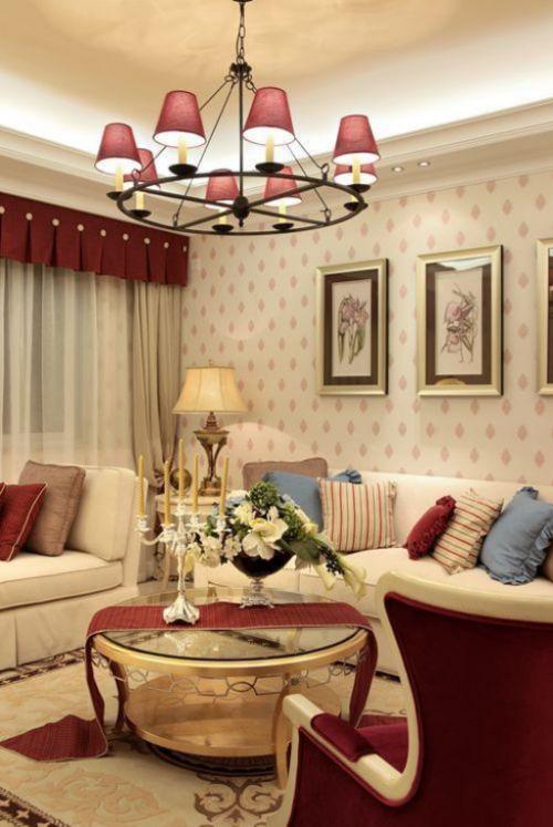 2016浪漫美式田园客厅吊顶装饰案例