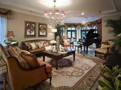 美式客厅全景装修效果图