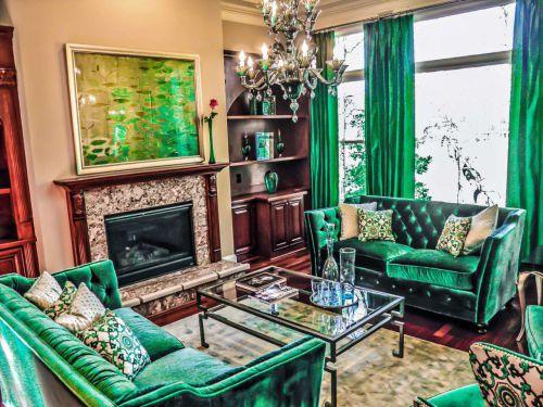 华丽美式风格绿色客厅装潢