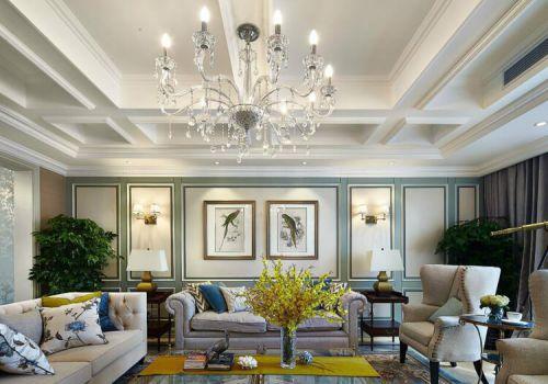 纯白方形美式客厅吊顶美图