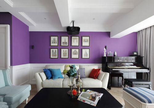 紫色美式客厅背景墙欣赏