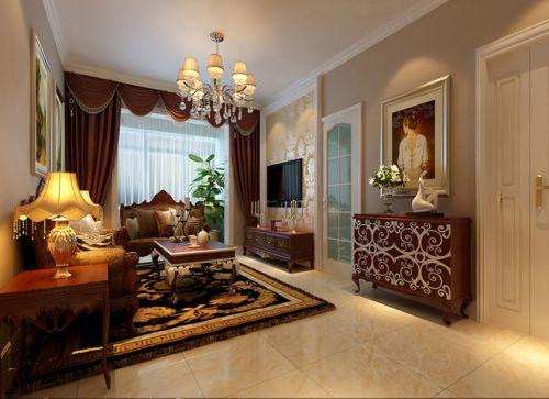 美式风格个性橙色客厅图片欣赏