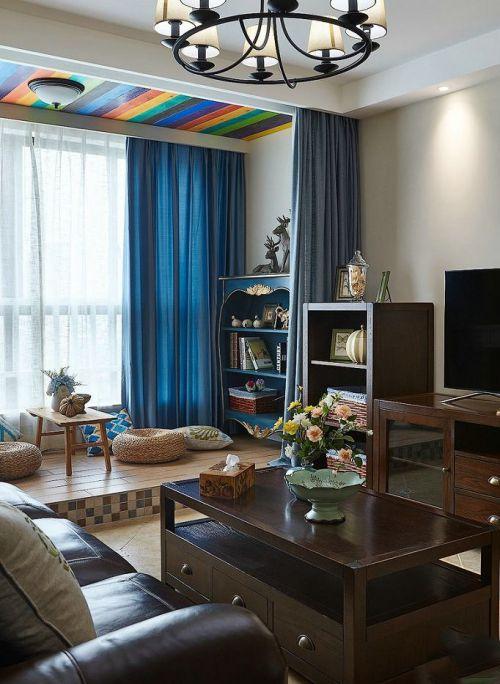 美式风格个性蓝色客厅装修设计