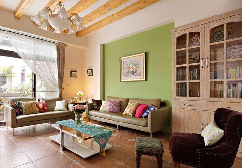 清新美式绿色客厅设计