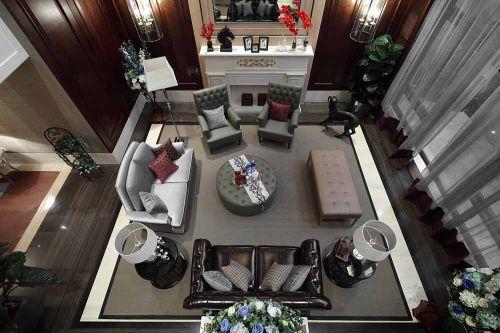 美式前卫设计客厅装修俯瞰图