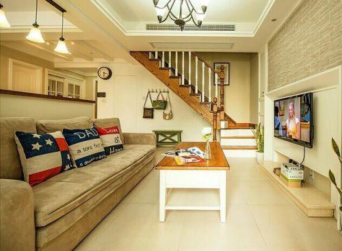 米色美式风客厅装修设计