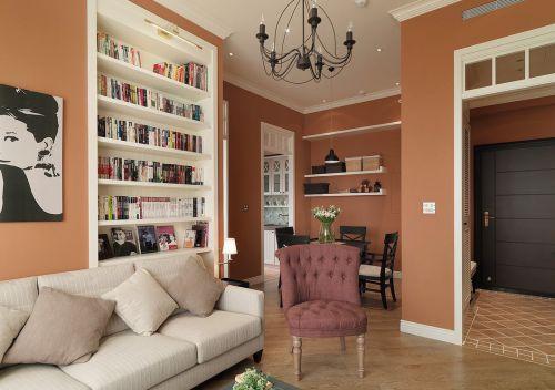 美式风格个性橙色客厅装修设计