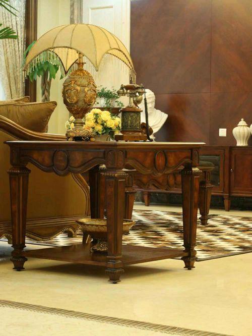 大气沉稳美式复古客厅局部装修设计