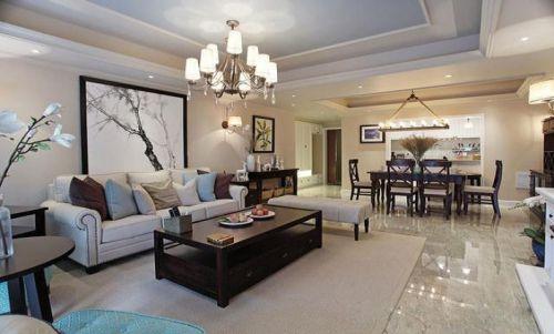 米色美式风格客厅装潢设计