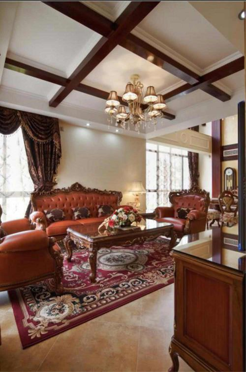 沉稳美式大气客厅整体装修展示