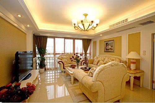 浪漫黄色美式客厅装修布置