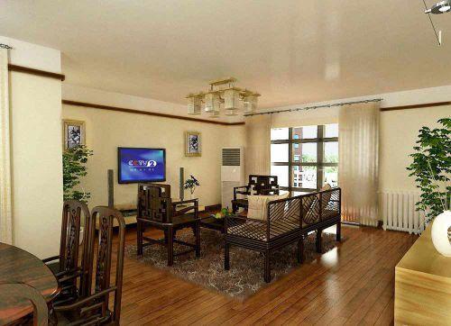 深沉实木风格美式客厅家装图