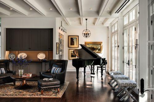 黑色典雅美式风格客厅装饰案例