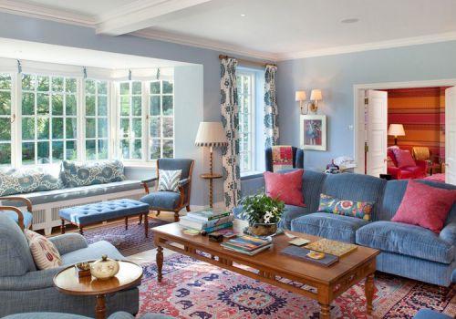 美式彩色客厅美图