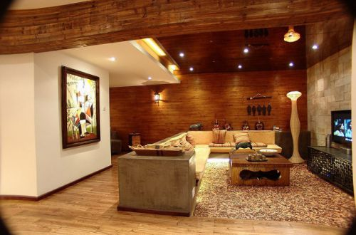 橙色个性美式风格客厅装修设计