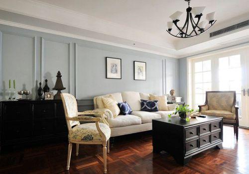 美式蓝色清纯客厅美图