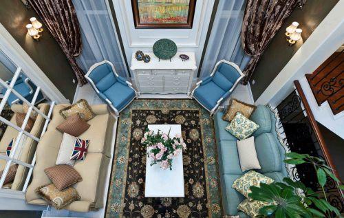 豪华美式风格蓝色客厅设计赏析