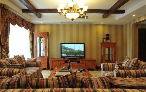 2016舒适美式风格黄色客厅效果图