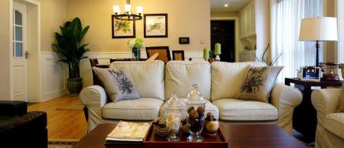 黄色美式风格客厅装修美图