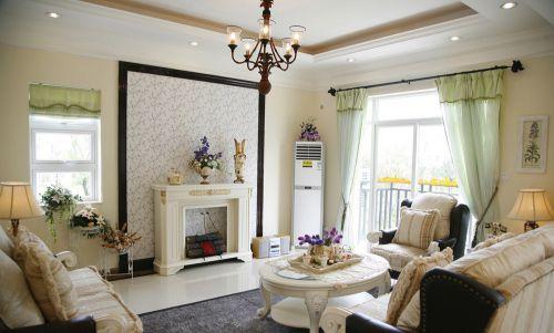 美式风格浪漫白色客厅效果图赏析
