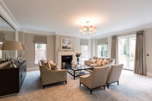 美式风格清新米色客厅效果图
